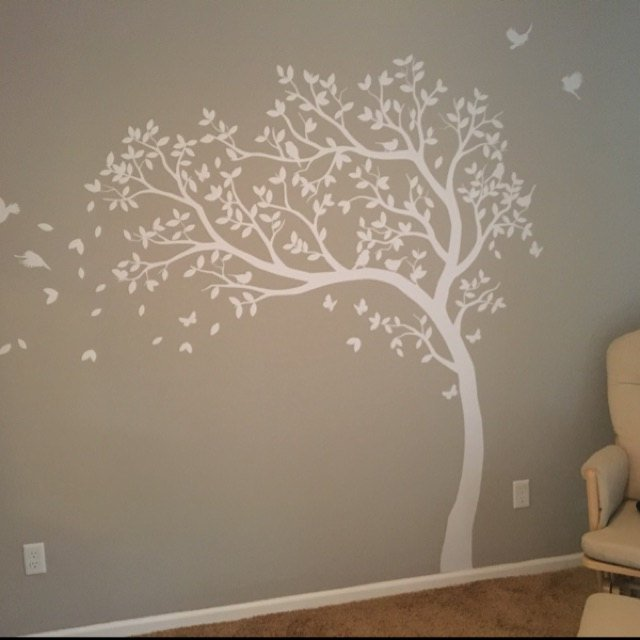 White Tree Wall Decal With Leaves And