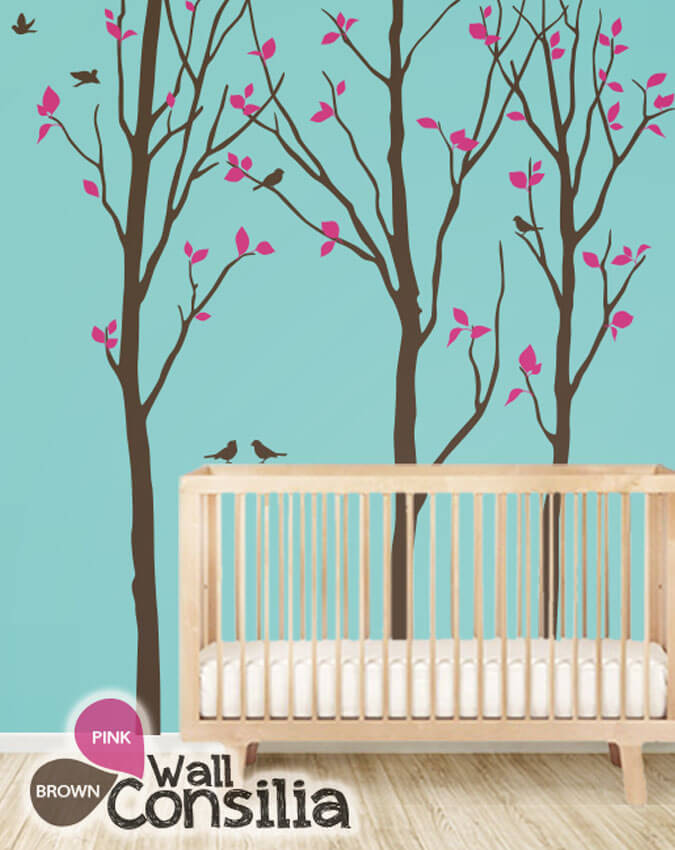 Wall decal with birch trees and birds nursery tree decals for Birch tree mural nursery