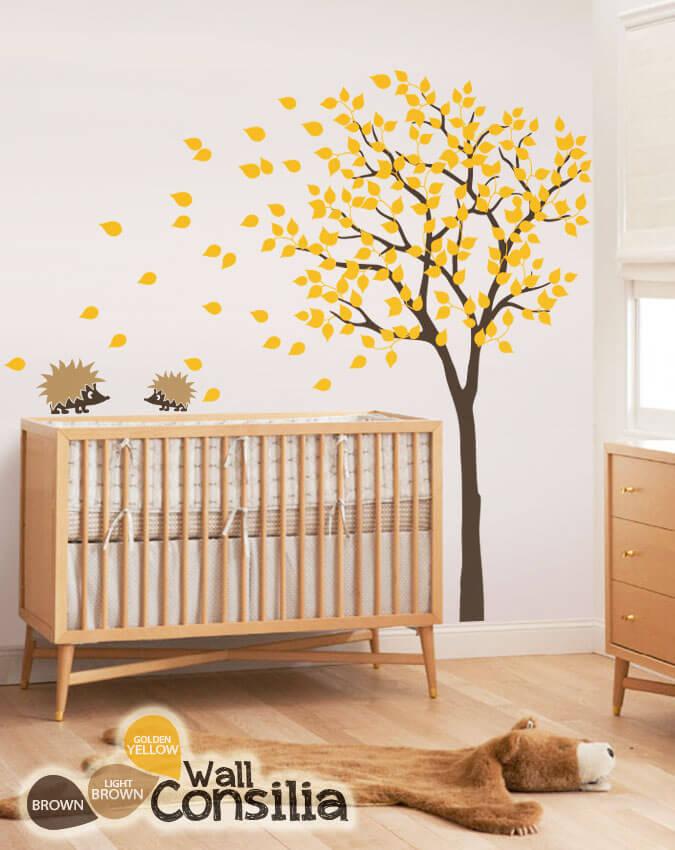 Hedgehog Family Under Fall Tree Nursery Wall Decalswallconsilia