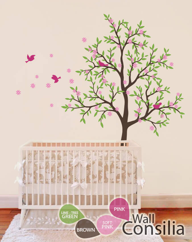 Brown Nursery Tree With Pink Birds Baby Wall
