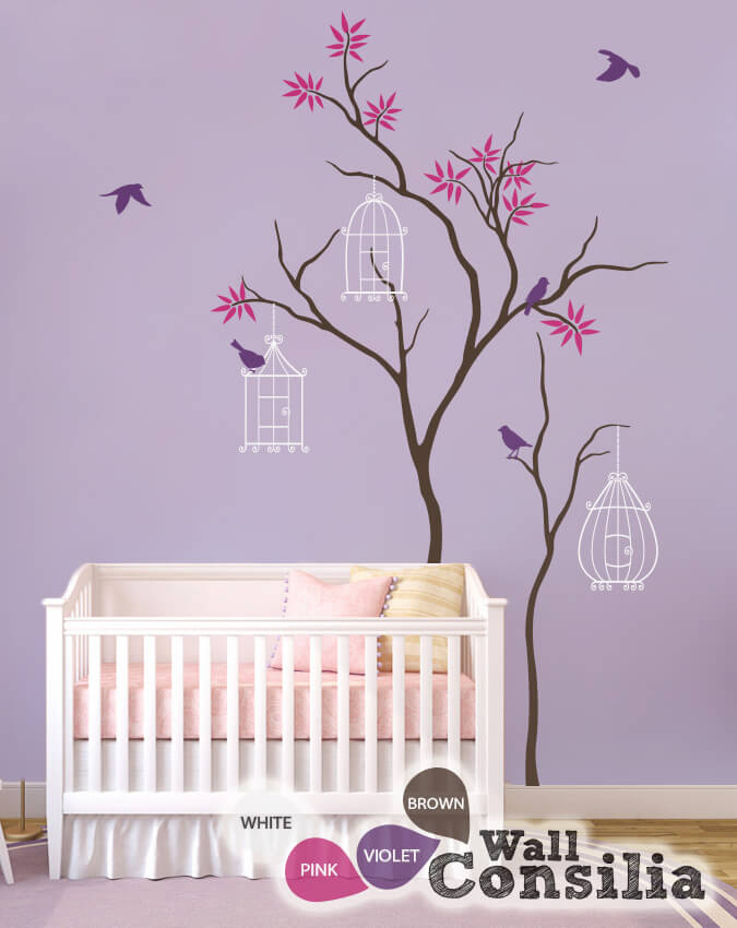 Nursery Wall Decal With Birdcages
