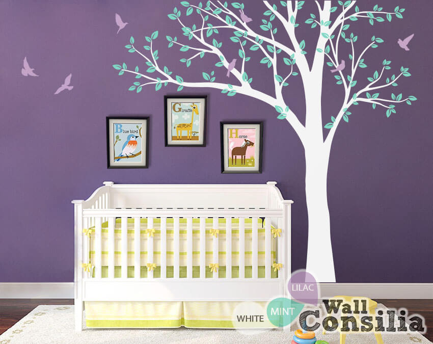 Large decorative tree with flying birds wall decals for Big tree with bird wall decal deco art sticker mural