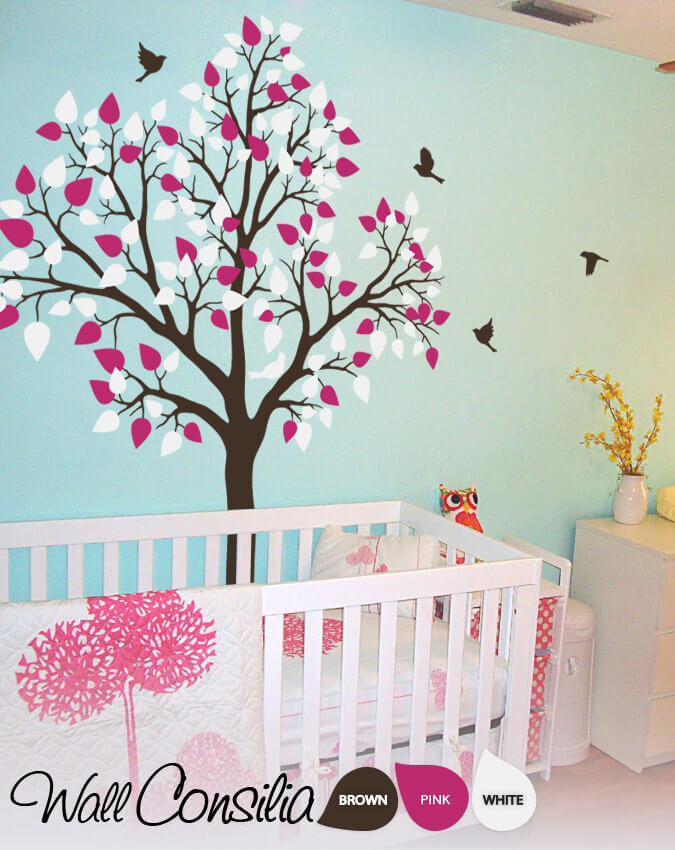 Dreamy and colorful baby room tree decal for Baby room tree mural