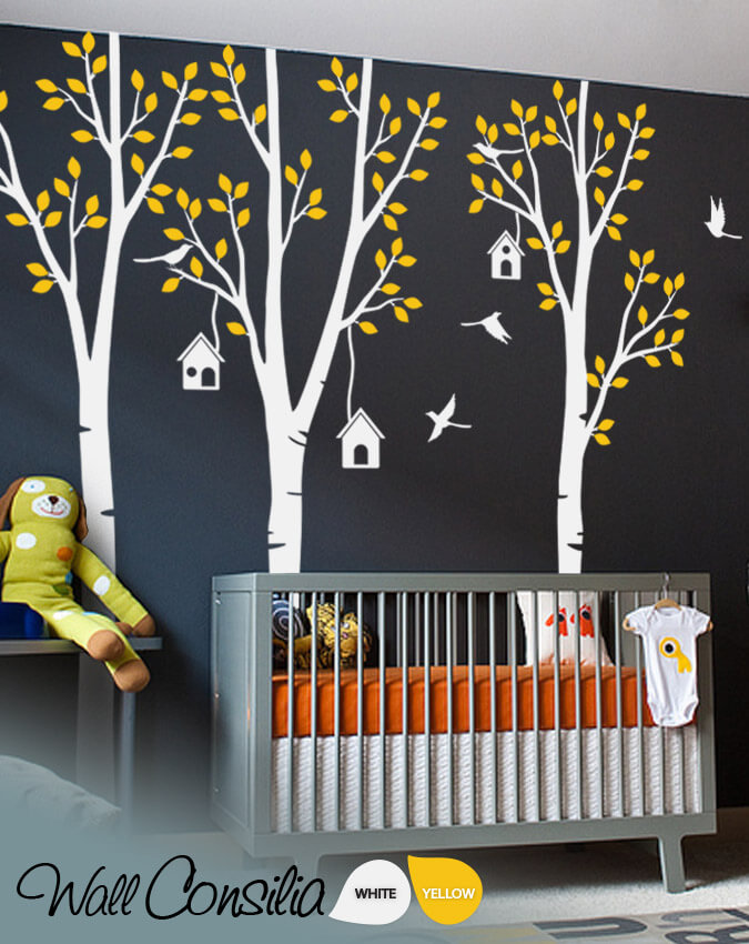 Set Of Nursery Birch Trees With Birds Removable Wall Decals