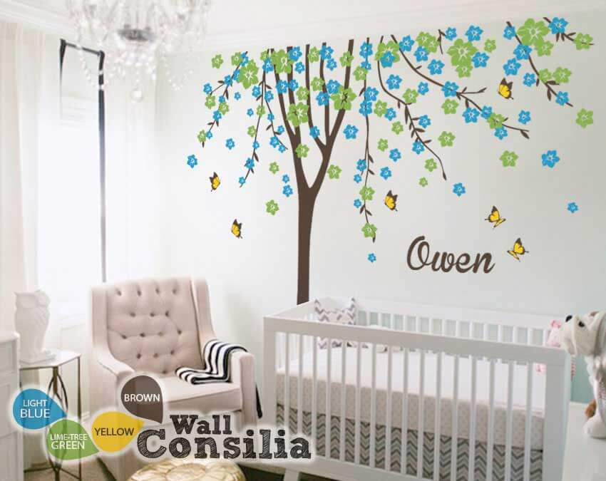Floral Tree Wall Decal Personalized Name Butterflies