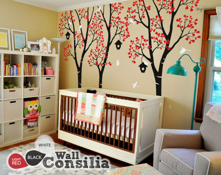 Large Birch Trees With Birdcages Wall Decals For Kidswallconsilia Com