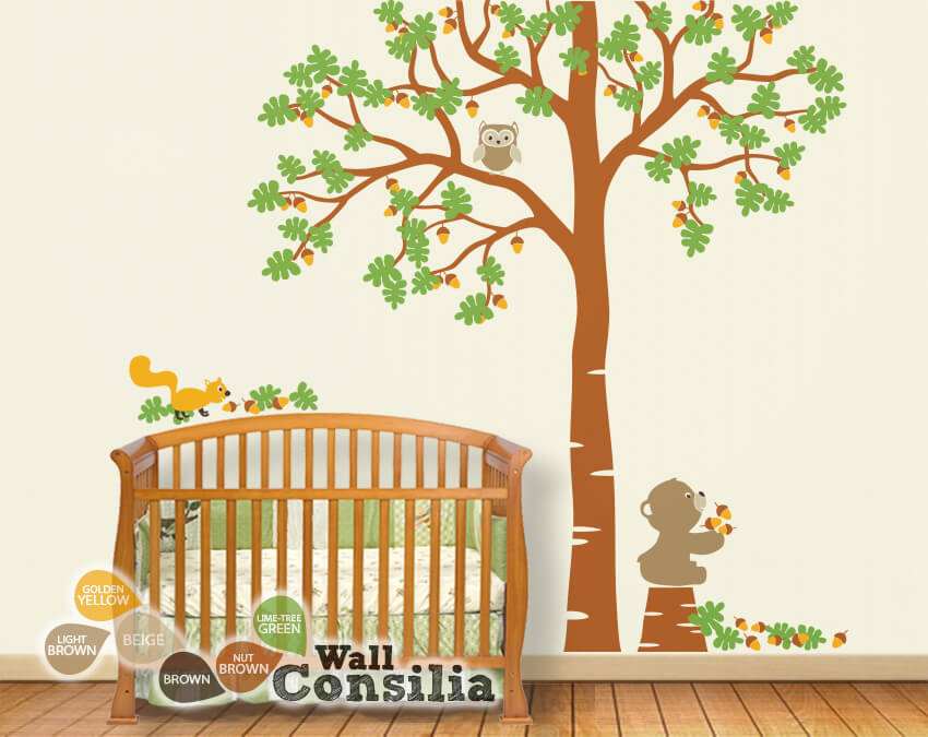 Oak Tree With Forest Animals U2013 Owl Wall Stickers