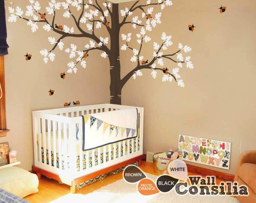 Large-corner-tree-decals. Baby nursery Large Oak Tree wall decal