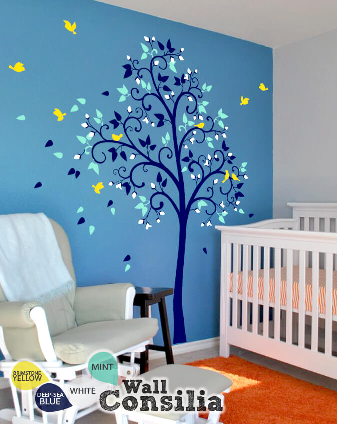 Whimsical nursery tree with birds children wall stickers
