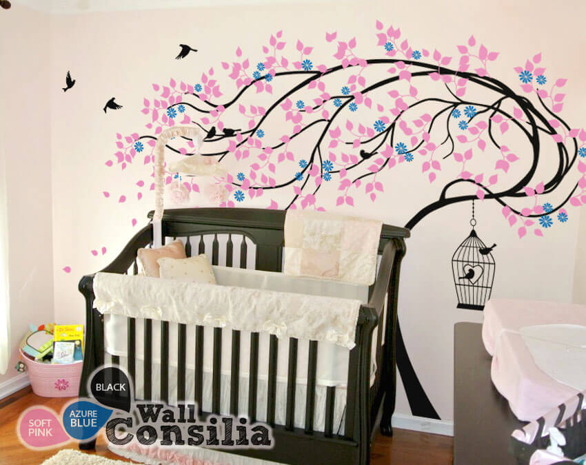 large whimsical tree in the wind with birds wall