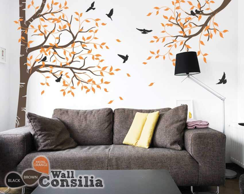 Set-of-large-corner-tree-with-brach-decals