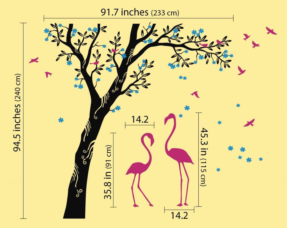 Beautiful flamingos under large tree with blossomsWallconsilia.com