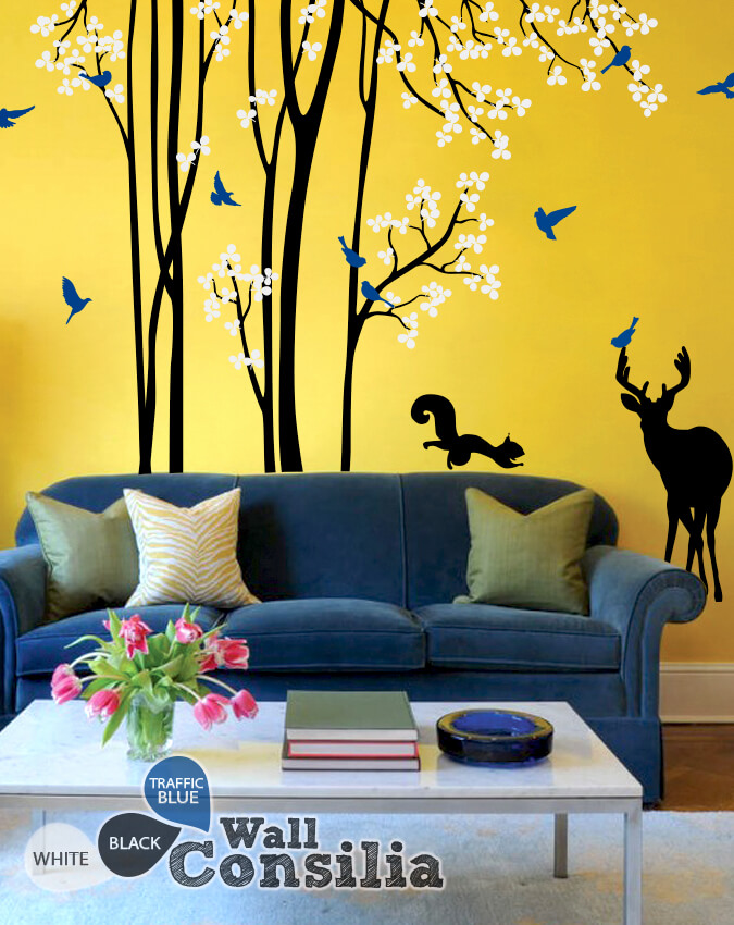 Living room wall tree decal with animalsWallconsilia.com