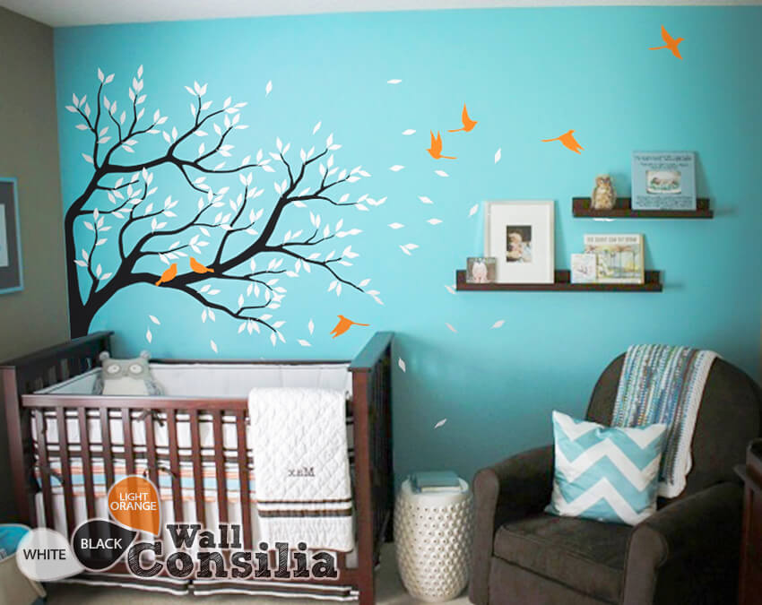 Corner Tree With Birds And Leaves Nursery Tree