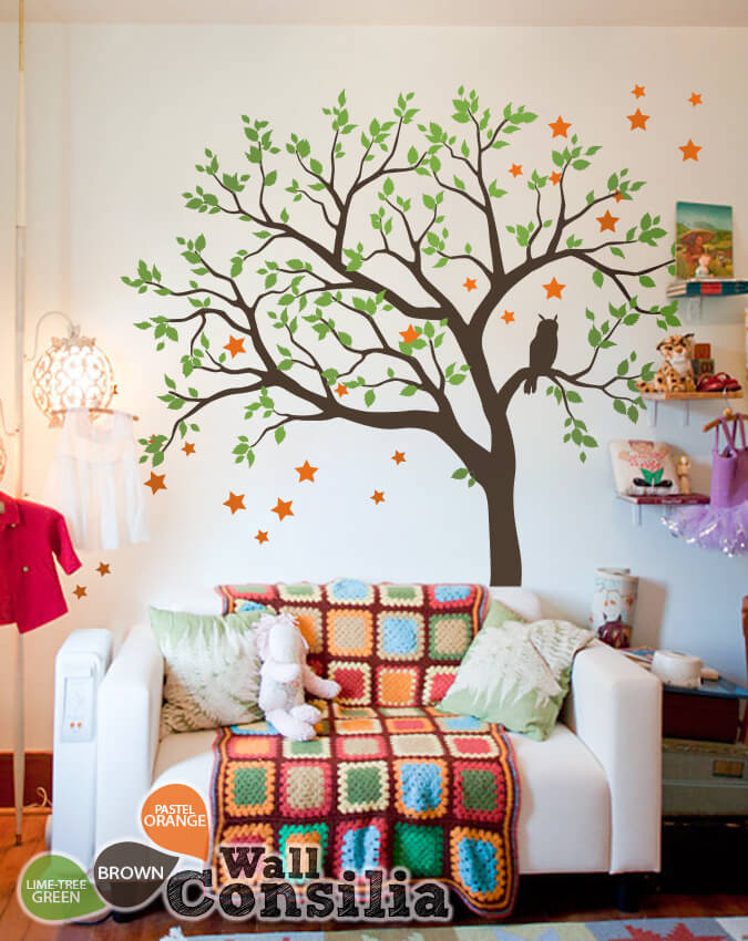 Living room tree decal with owl - House wall decoration