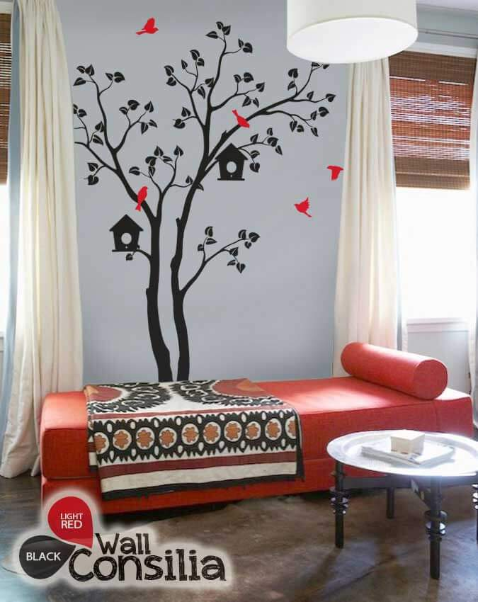 Large-nursery-tree & Tree wall decal with birdhouses - Bedroom wall decorWallconsilia.com