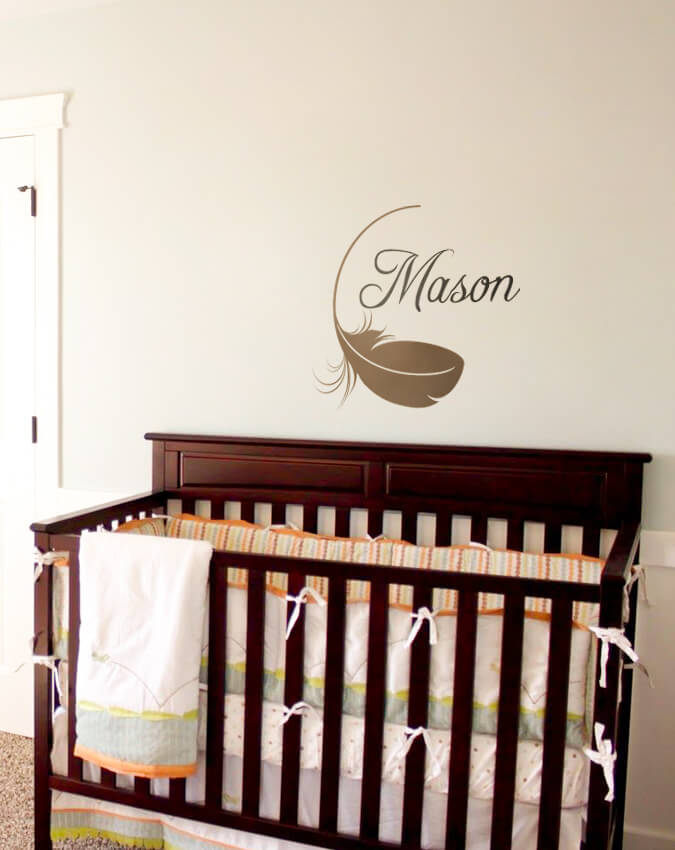 Nursery Name Decal With Feather Wall