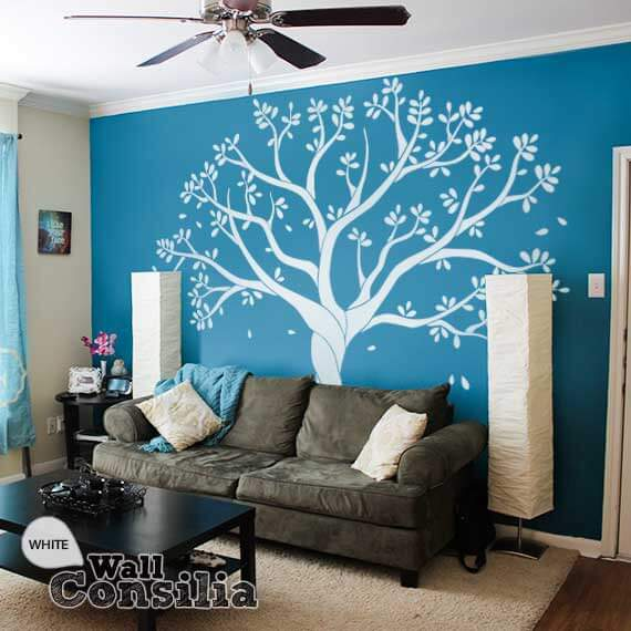 White Tree Wall Decal For Family Room Or Nurserywallconsilia Com Rh  Wallconsilia Com Living Room Wall