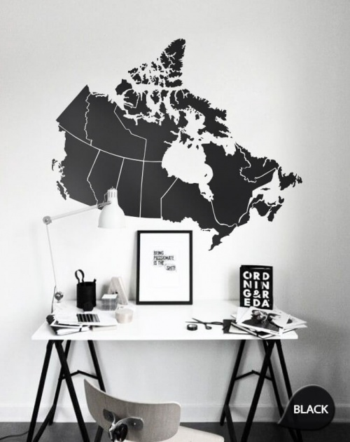 Black Giant Map of Canada Wall Sticker