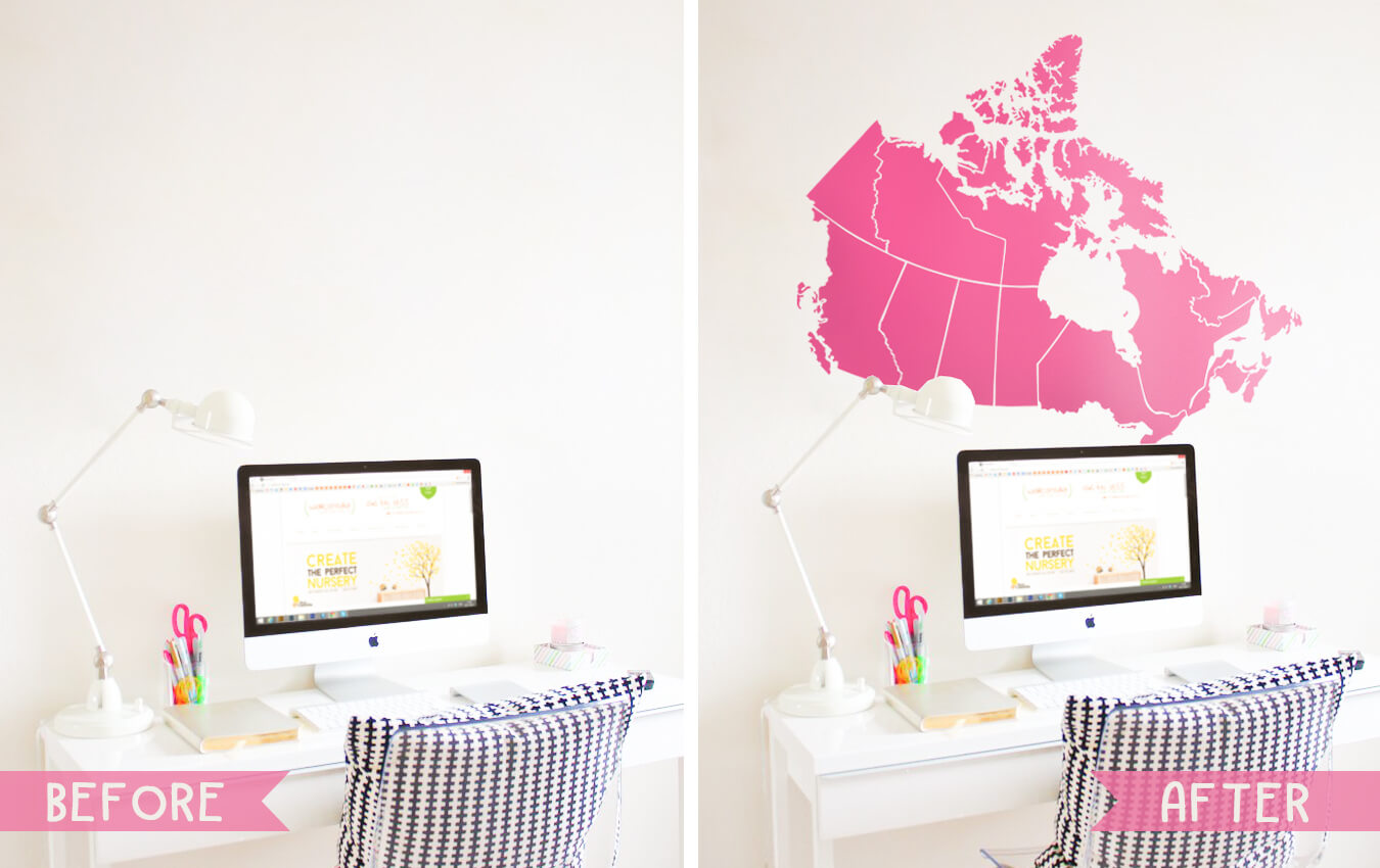 Pink Canada Map Decal Wall Sticker