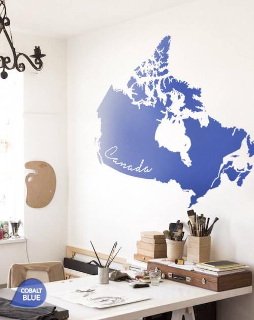 Cobalt Blue Giant Map of Canada Wall Sticker