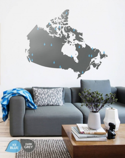 Dark Grey Giant Map of Canada Wall Art Decal Décor