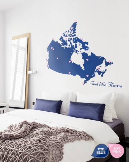 Blue Giant Map of Canada with Heart Symbol Wall Art Decal Décor