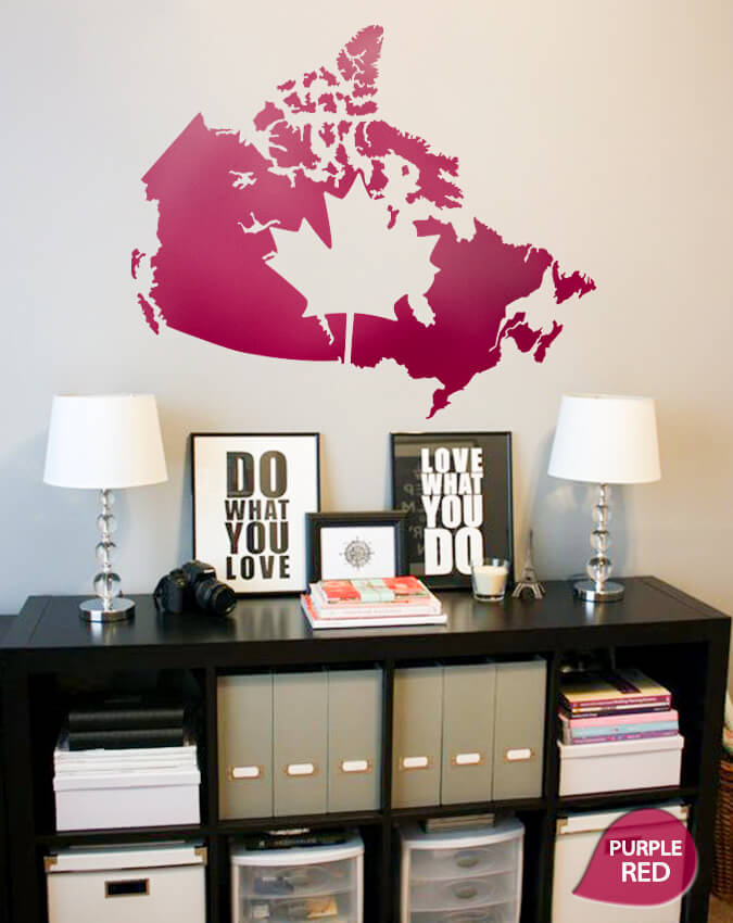 Purple Red Giant Map of Canada Wall Sticker