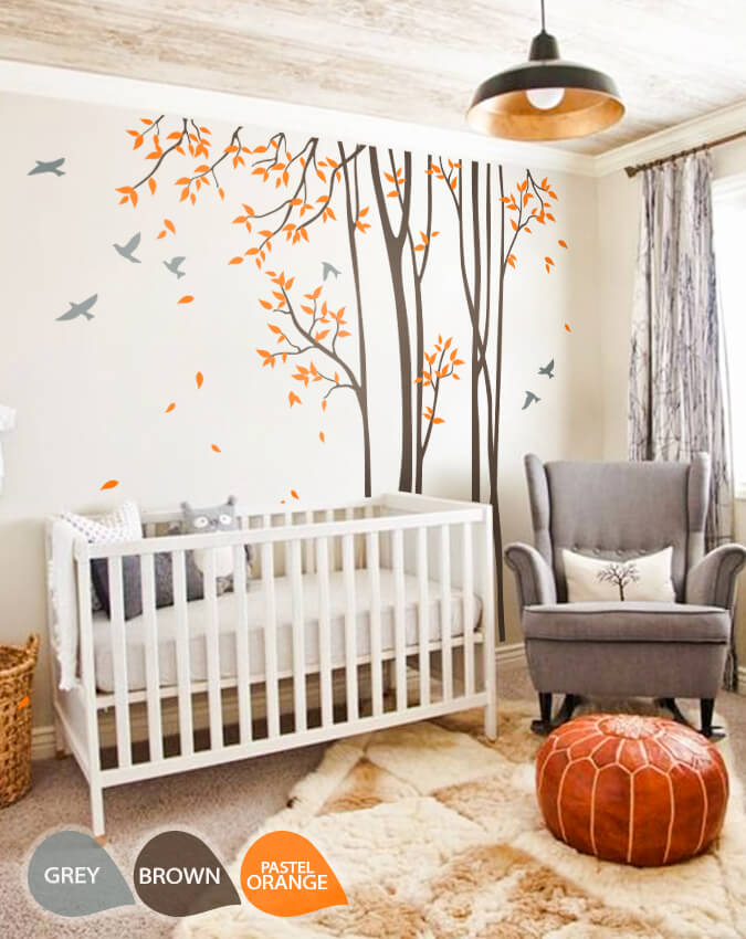 Large Nursery Wall Decal Set With Grey Birds And Orange Leaves, Tree Wall  Decals