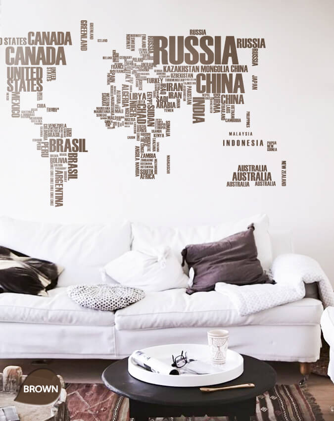 Brown World Map Country Names Vinyl Wall Sticker