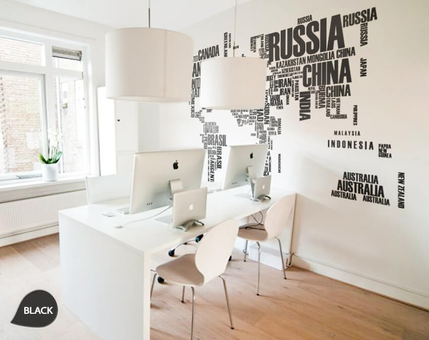 Black World Map Country Names Vinyl Wall Sticker
